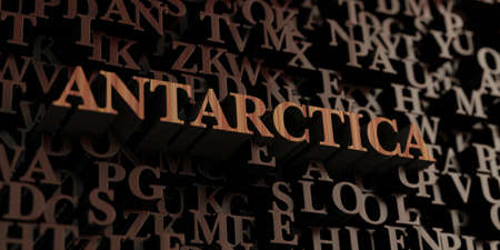antarctica: Antarctica - Wooden 3D rendered lettersmessage.  Can be used for an online banner ad or a print postcard. Stock Photo