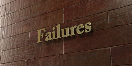 failures: Failures - Bronze plaque mounted on maple wood wall  - 3D rendered royalty free stock picture. This image can be used for an online website banner ad or a print postcard.