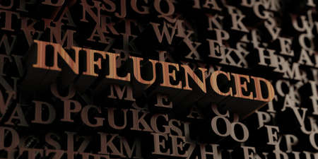 influenced: Influenced - Wooden 3D rendered lettersmessage.  Can be used for an online banner ad or a print postcard.