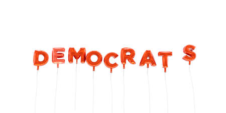 DEMOCRATS - word made from red foil balloons - 3D rendered.  Can be used for an online banner ad or a print postcard.