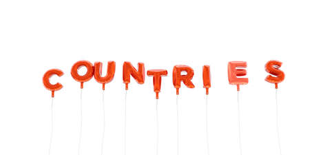 COUNTRIES - word made from red foil balloons - 3D rendered.  Can be used for an online banner ad or a print postcard.