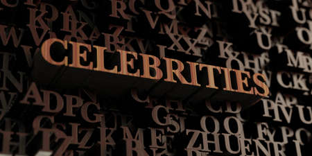 celebrities: Celebrities - Wooden 3D rendered lettersmessage.  Can be used for an online banner ad or a print postcard.