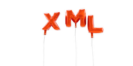 xml: XML - word made from red foil balloons - 3D rendered.  Can be used for an online banner ad or a print postcard.