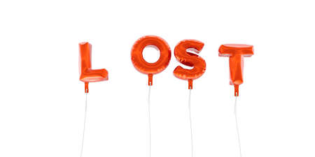 be lost: LOST - word made from red foil balloons - 3D rendered.  Can be used for an online banner ad or a print postcard.