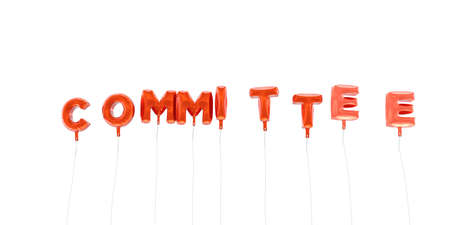 COMMITTEE - word made from red foil balloons - 3D rendered.  Can be used for an online banner ad or a print postcard. Stock Photo