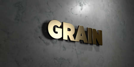 Grain - Gold sign mounted on glossy marble wall  - 3D rendered royalty free stock illustration. This image can be used for an online website banner ad or a print postcard.