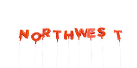 NORTHWEST - word made from red foil balloons - 3D rendered.  Can be used for an online banner ad or a print postcard.