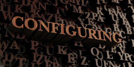 Configuring - Wooden 3D rendered lettersmessage.  Can be used for an online banner ad or a print postcard.