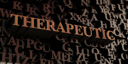 therapeutic: Therapeutic - Wooden 3D rendered lettersmessage.  Can be used for an online banner ad or a print postcard. Stock Photo