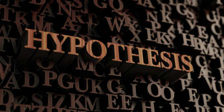 hipotesis: Hypothesis - Wooden 3D rendered lettersmessage.  Can be used for an online banner ad or a print postcard.