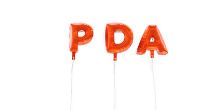 PDA - word made from red foil balloons - 3D rendered.  Can be used for an online banner ad or a print postcard.