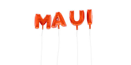 MAUI - word made from red foil balloons - 3D rendered.  Can be used for an online banner ad or a print postcard. Stock Photo
