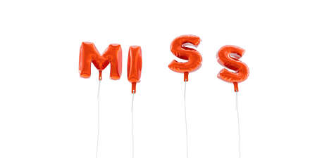 MISS - word made from red foil balloons - 3D rendered.  Can be used for an online banner ad or a print postcard.