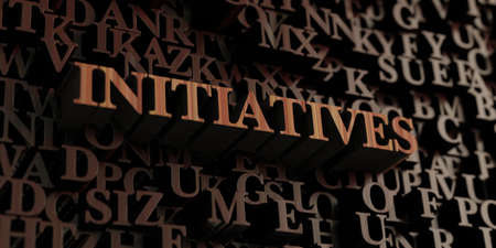 Initiatives - Wooden 3D rendered lettersmessage.  Can be used for an online banner ad or a print postcard.