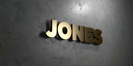 jones: Jones - Gold sign mounted on glossy marble wall  - 3D rendered royalty free stock illustration. This image can be used for an online website banner ad or a print postcard. Stock Photo
