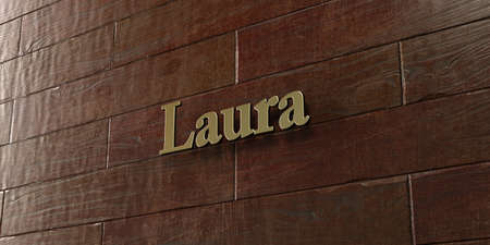 Laura - Bronze plaque mounted on maple wood wall  - 3D rendered royalty free stock picture. This image can be used for an online website banner ad or a print postcard. Stock Photo