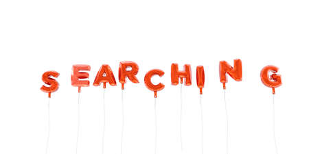 SEARCHING - word made from red foil balloons - 3D rendered.  Can be used for an online banner ad or a print postcard.