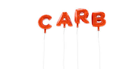 CARB - word made from red foil balloons - 3D rendered.  Can be used for an online banner ad or a print postcard.