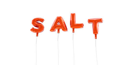 SALT - word made from red foil balloons - 3D rendered.  Can be used for an online banner ad or a print postcard.