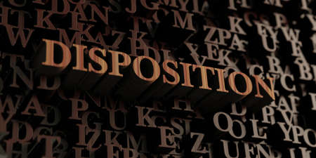 disposition: Disposition - Wooden 3D rendered lettersmessage.  Can be used for an online banner ad or a print postcard.