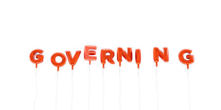 governing: GOVERNING - word made from red foil balloons - 3D rendered.  Can be used for an online banner ad or a print postcard.