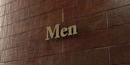 Men - Bronze plaque mounted on maple wood wall  - 3D rendered royalty free stock picture. This image can be used for an online website banner ad or a print postcard.