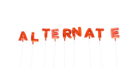 alternate: ALTERNATE - word made from red foil balloons - 3D rendered.  Can be used for an online banner ad or a print postcard. Stock Photo