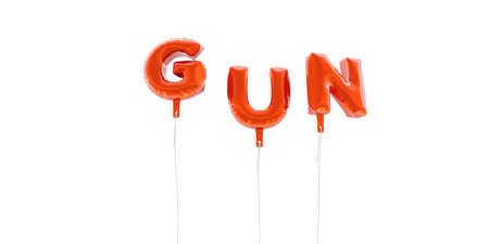 GUN - word made from red foil balloons - 3D rendered.  Can be used for an online banner ad or a print postcard.