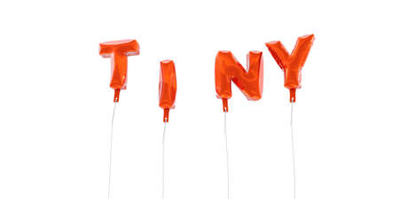 TINY - word made from red foil balloons - 3D rendered.  Can be used for an online banner ad or a print postcard.