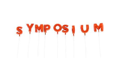 SYMPOSIUM - word made from red foil balloons - 3D rendered.  Can be used for an online banner ad or a print postcard.