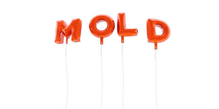 MOLD - word made from red foil balloons - 3D rendered.  Can be used for an online banner ad or a print postcard.
