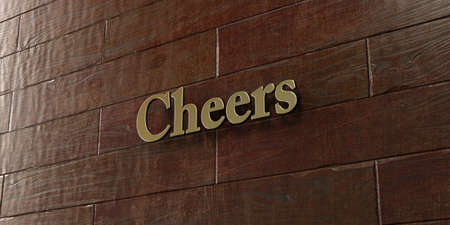 Cheers - Bronze plaque mounted on maple wood wall  - 3D rendered royalty free stock picture. This image can be used for an online website banner ad or a print postcard.
