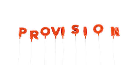 PROVISION - word made from red foil balloons - 3D rendered.  Can be used for an online banner ad or a print postcard.
