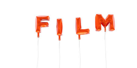 FILM - word made from red foil balloons - 3D rendered.  Can be used for an online banner ad or a print postcard.
