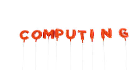 COMPUTING - word made from red foil balloons - 3D rendered.  Can be used for an online banner ad or a print postcard.