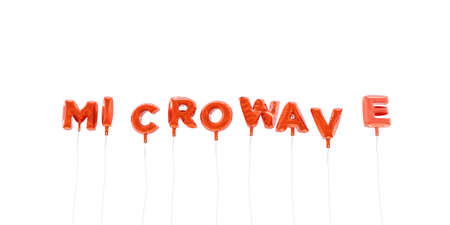 MICROWAVE - word made from red foil balloons - 3D rendered.  Can be used for an online banner ad or a print postcard.