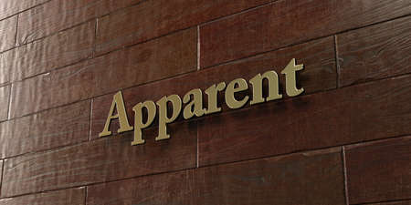 apparent: Apparent - Bronze plaque mounted on maple wood wall  - 3D rendered royalty free stock picture. This image can be used for an online website banner ad or a print postcard. Stock Photo