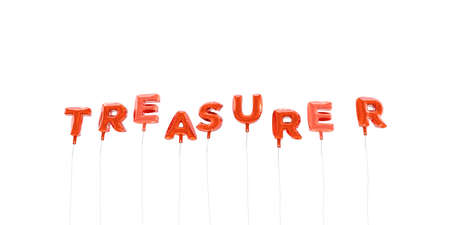 TREASURER - word made from red foil balloons - 3D rendered.  Can be used for an online banner ad or a print postcard. Stock Photo