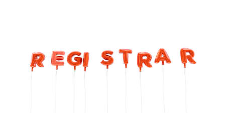 REGISTRAR - word made from red foil balloons - 3D rendered.  Can be used for an online banner ad or a print postcard. Фото со стока