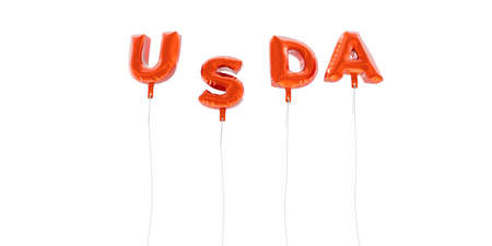 USDA - word made from red foil balloons - 3D rendered.  Can be used for an online banner ad or a print postcard.