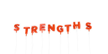 STRENGTHS - word made from red foil balloons - 3D rendered.  Can be used for an online banner ad or a print postcard.