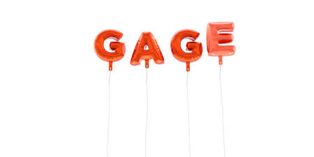 GAGE - word made from red foil balloons - 3D rendered.  Can be used for an online banner ad or a print postcard. Stock Photo