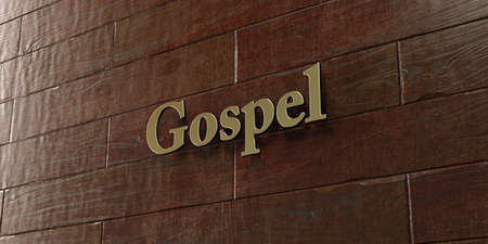 gospel: Gospel - Bronze plaque mounted on maple wood wall  - 3D rendered royalty free stock picture. This image can be used for an online website banner ad or a print postcard. Stock Photo
