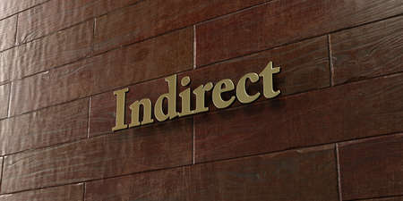 indirect: Indirect - Bronze plaque mounted on maple wood wall  - 3D rendered royalty free stock picture. This image can be used for an online website banner ad or a print postcard.