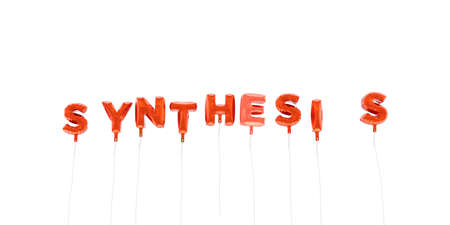 synthesis: SYNTHESIS - word made from red foil balloons - 3D rendered.  Can be used for an online banner ad or a print postcard.