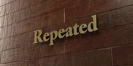 repeated: Repeated - Bronze plaque mounted on maple wood wall  - 3D rendered royalty free stock picture. This image can be used for an online website banner ad or a print postcard. Stock Photo