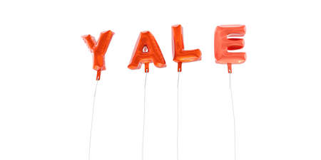 yale: YALE - word made from red foil balloons - 3D rendered.  Can be used for an online banner ad or a print postcard. Stock Photo