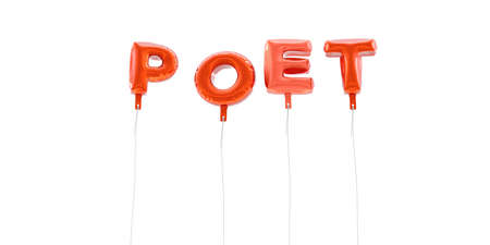poet: POET - word made from red foil balloons - 3D rendered.  Can be used for an online banner ad or a print postcard. Stock Photo