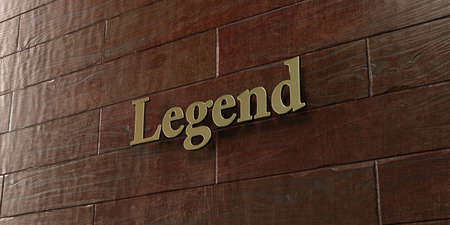 legend: Legend - Bronze plaque mounted on maple wood wall  - 3D rendered royalty free stock picture. This image can be used for an online website banner ad or a print postcard.