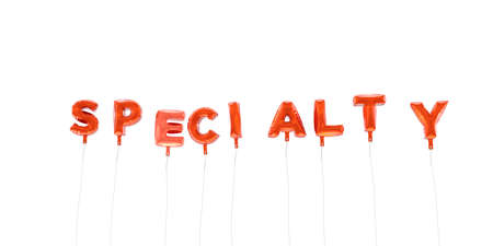specialty: SPECIALTY - word made from red foil balloons - 3D rendered.  Can be used for an online banner ad or a print postcard. Stock Photo